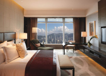 1Deluxe Victoria Harbour Room – with view of harbour©The Ritz-Carlton Hong Kong