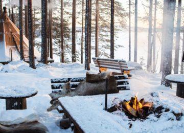 Schwedisch Lappland Winter Außenaufnahme Glamping ©Aurora Safari Camp