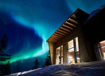 Polarlichter über Octola Private Wilderness Finnland Lappland Polarkreis