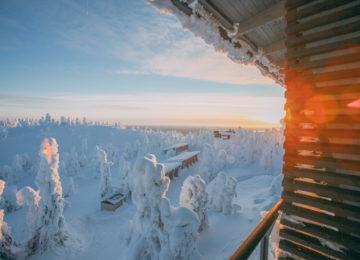 Ruka Peak Lodge Finnland Blick aus dem Zimmer mit Balkon