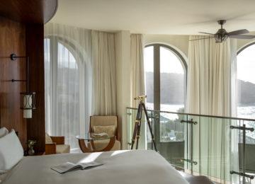 Jumeirah-Port-Soller-Lighthouse-Signature-Suite-Rooms-Interior-Design-Bedroom-Windows-View-Telescope