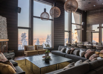 Lounge Octola Wilderness Private Lodge Finnland Lappland