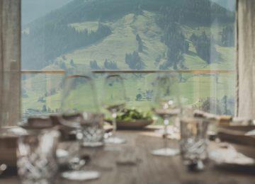 Senhoog Chalet BergWärtsGeist©Esszimmer Blick Bergwelt