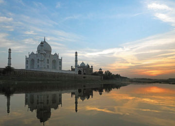 The Taj Mahal near Agra in Rajasthan in Northern India. Sunset