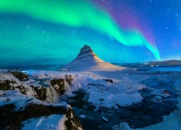 Polarlichter Island Mount Kirkjufell